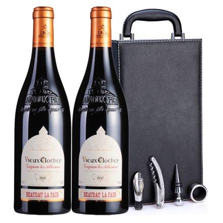 法国波多拉芬•梵高2010干红葡萄酒黑色双支皮盒