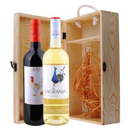 西班牙农庄系列干红+干白葡萄酒双支松木礼盒