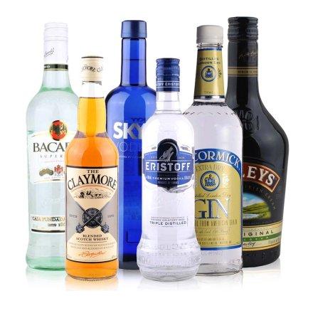 百加得超级朗姆酒+深蓝伏特加+法国皇太子伏特加+剑威苏格兰威士忌+麦克美金酒+百利甜酒