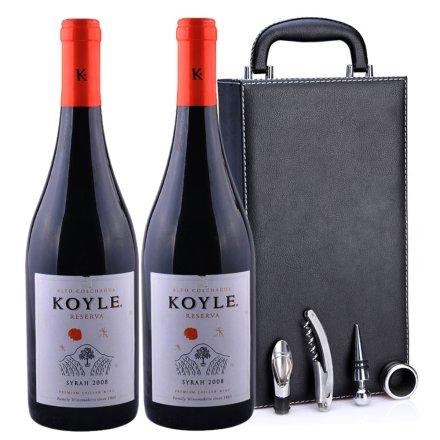智利柯莱窖藏西拉2008干红葡萄酒黑色双支皮盒