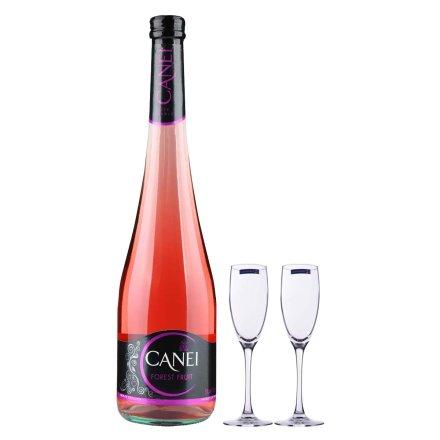 意大利圣霞多肯爱森林果低泡葡萄酒+品位香槟杯16cl2支