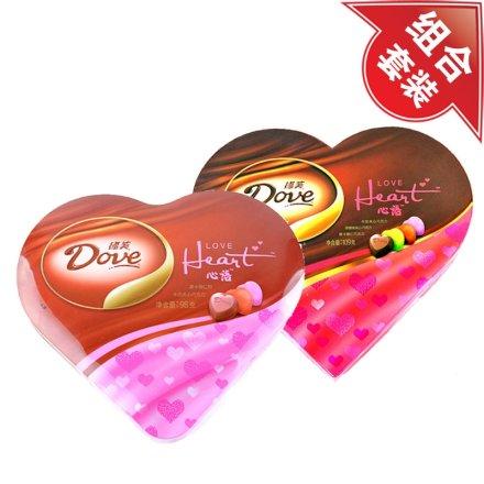 德芙心语巧克力礼盒铁盒装+德芙巧克力心心相印礼盒