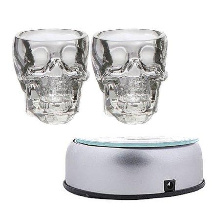 水晶头骨酒杯2支+底座(重复勿用)