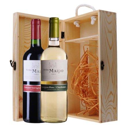 智利迈坡赤霞珠美乐干红+长相思霞多丽干白葡萄酒双支松木礼盒
