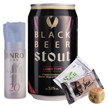 韩国海特黑啤酒355ml+名品真露手提袋+真露湿巾+韩国进口运动毛巾+喝酒骰子