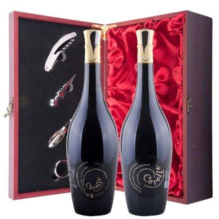 法国科罗纳干红葡萄酒仿红木双支礼盒