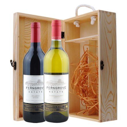 澳大利亚芬格富庄园西拉干红+霞多丽干白葡萄酒双支松木礼盒