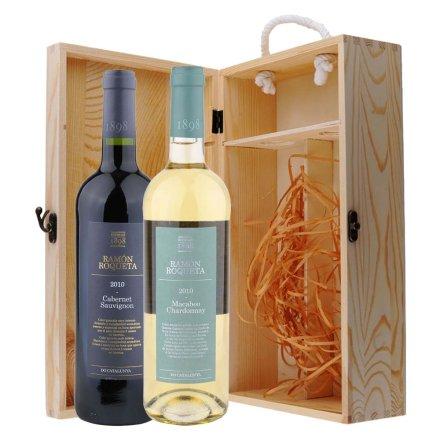 西班牙罗蒙家族干红+干白葡萄酒双支松木礼盒