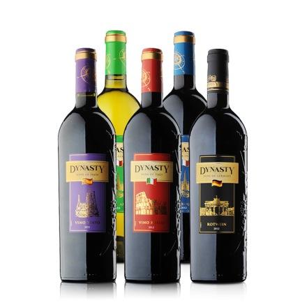 王朝之花原装进口五瓶套装葡萄酒750ml*5