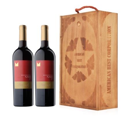 美国加州劳代火焰混酿干红葡萄酒双支礼盒套装750ml*2