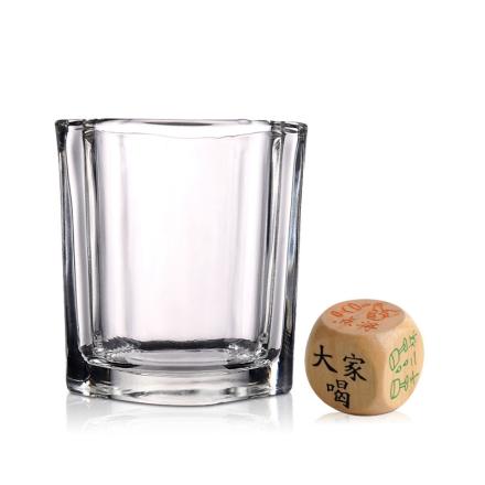 朋珠透明四方烈酒杯75ml(乐享)+木质喝酒骰子