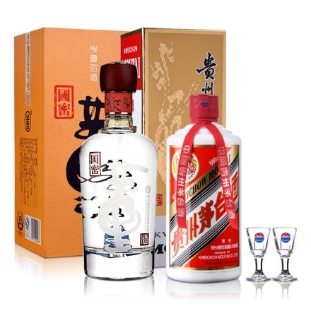 53°茅台飞天500ml+54°国密董酒500ml(贵宾品鉴装)