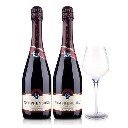 德国侬芬堡红宝石起泡葡萄酒750ml(双瓶装)+手工水晶杯