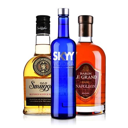 洋酒套装 白兰地 伏特加 威士忌 法英美三瓶装