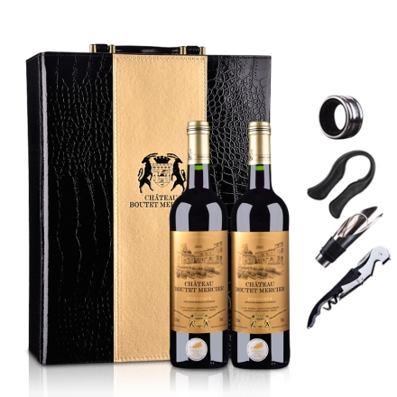 【随时随意波尔多】法国红酒(原瓶进口)梅赫斯城堡干红葡萄酒750ml*2(双支皮盒套装)