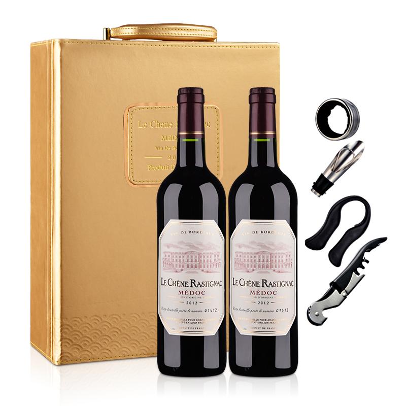 法国红酒海蒂克梅多克干红葡萄酒(双支皮盒套装)750ml*2