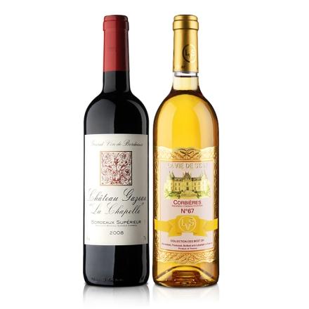 法国伽祖城堡干红葡萄酒750ml+法国拉维之星67号科比埃白葡萄酒