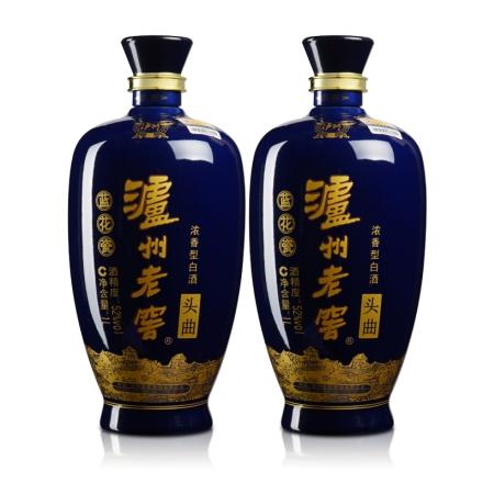 52°泸州老窖蓝花瓷头曲1L(双瓶装)
