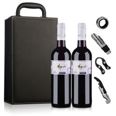 【礼盒特卖】西班牙德古斯特干红葡萄酒(双支皮盒套装)750ml*2