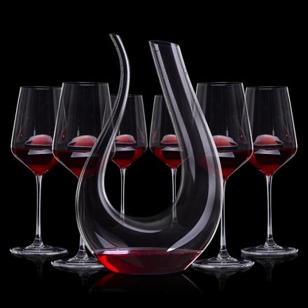 葡萄酒居家品酒7件套(竖琴醒酒器+手工水晶杯*6)