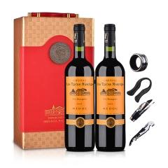 法国红酒三宝利酒庄干红葡萄酒2009 750ml(双瓶装)+中国红双支皮盒(含四件酒具)