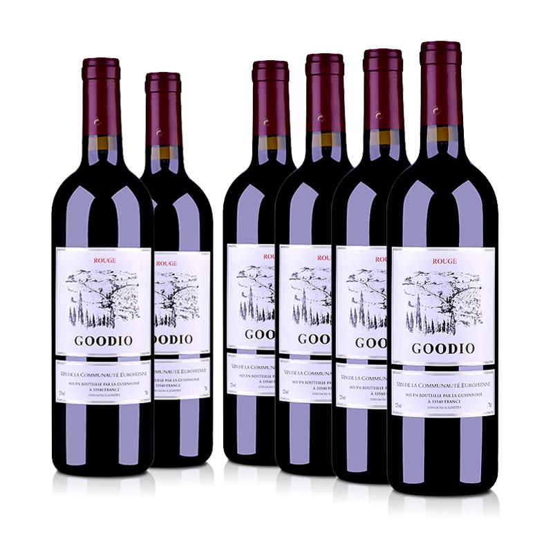 法国整箱红酒法国戈蒂干红葡萄酒750ml(6瓶装)
