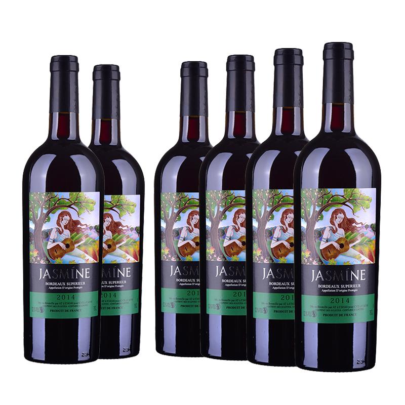 法国整箱红酒茉莉花超级波尔多干红葡萄酒750ml(6瓶装)