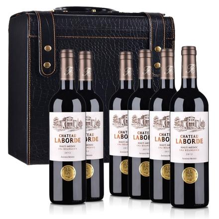 法国(中级庄)拉贝德城堡干红葡萄酒6支鳄鱼纹皮盒装