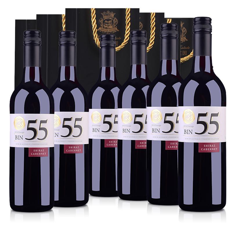 【自营】澳大利亚米隆庄园BIN55色拉子赤霞珠干红葡萄酒750ml(6瓶套手提袋版)
