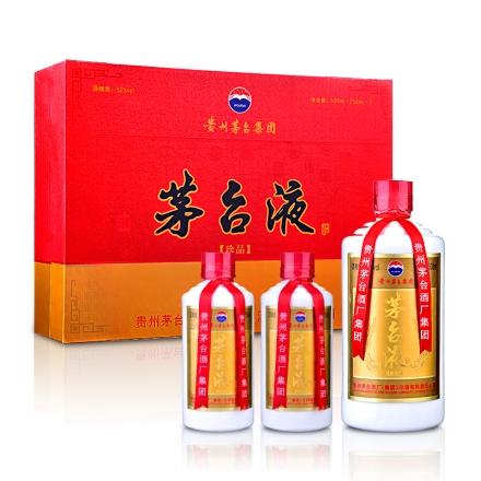 【老酒】52°茅台集团茅台液珍品礼盒500ml+250ml*2(2008)