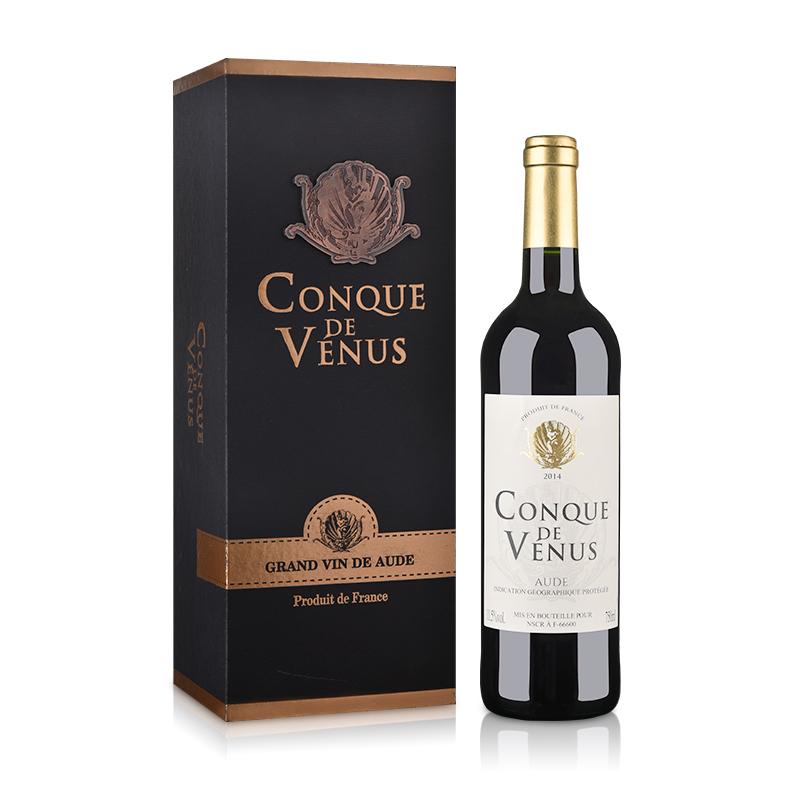 【包邮】法国红酒法国(原瓶进口)维纳斯贝壳干红葡萄酒(单支礼盒)750ml