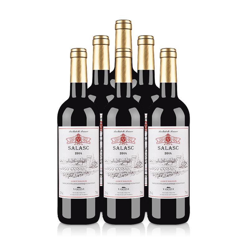 【自营】法国整箱红酒法国萨拉斯干红葡萄酒(6瓶装)