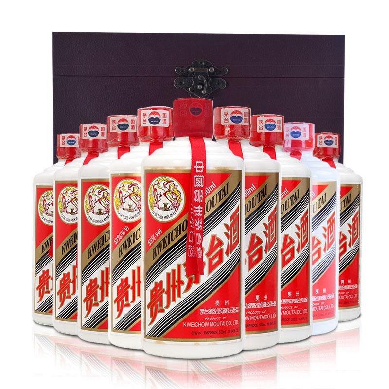 53°飞天茅台垂直年份套500ml(9瓶装)(2001-2009年)