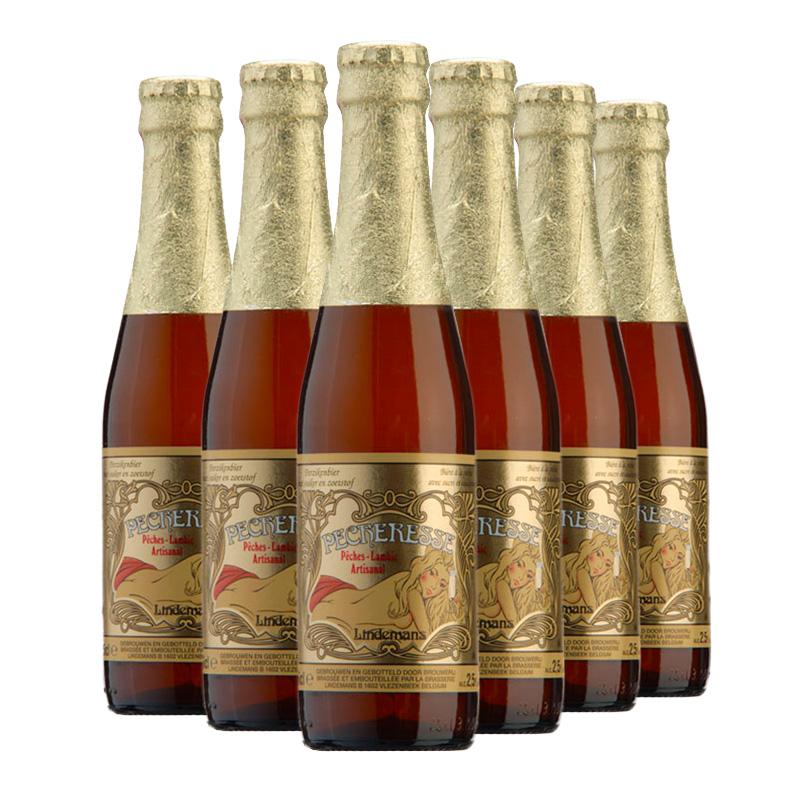 比利时进口林德曼樱桃啤酒水蜜桃果味啤酒(Lindemans)250ml*6