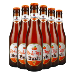 进口啤酒 比利时布什桃子啤酒 烈性果味啤酒 bush peche 330ml*6