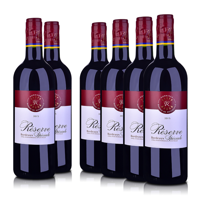 法国整箱红酒法国拉菲珍藏波尔多红葡萄酒750ml*6
