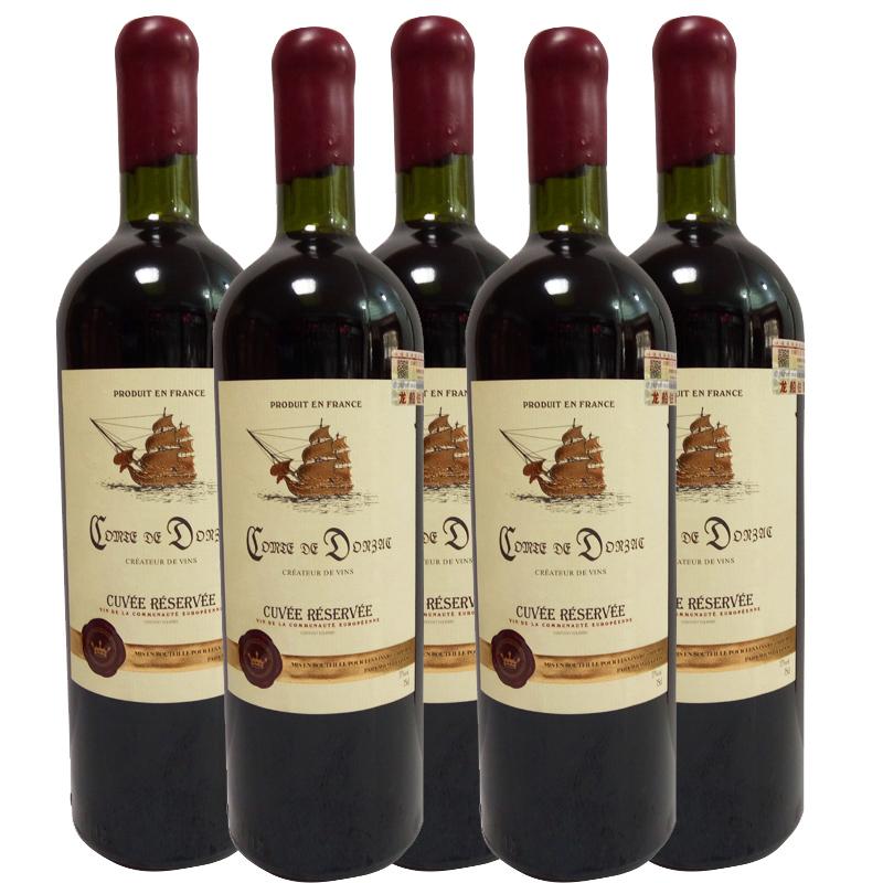 法国原瓶进口龙船伯爵干红葡萄酒750ml(6瓶装)