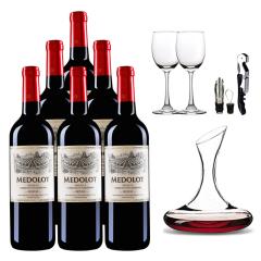 法国原瓶进口马得乐干红葡萄酒 750ml(6支装)+醒酒器*1酒杯*2酒具一套