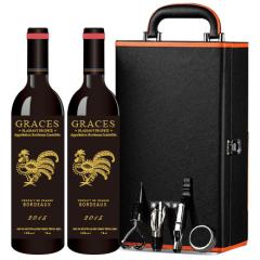 法国(原瓶进口)格拉芙丁酉年纪念款吉祥如意波尔多AOC干红葡萄酒750ml(双支皮盒)