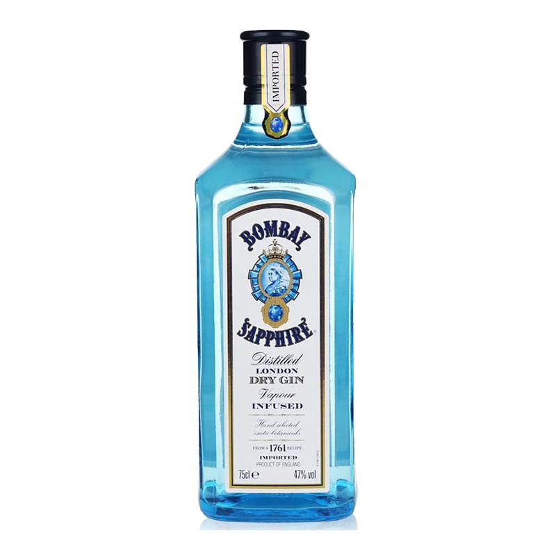 英国进口洋酒 40度孟买蓝宝石金酒松杜子酒干金酒毡酒750ml