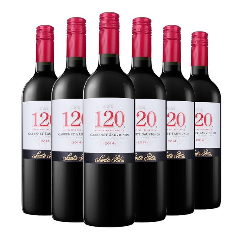 智利进口 桑塔丽塔120加本力苏维翁干红葡萄酒 750ml*6