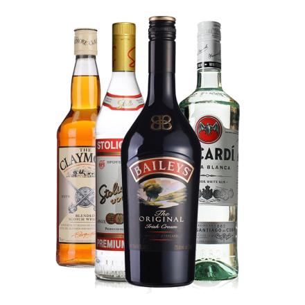 四大洋酒鸡尾酒基酒套装  威士忌伏特加朗姆酒力娇酒套餐组合
