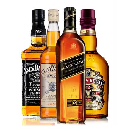 进口洋酒烈酒套装 英国剑威杰克丹尼黑方芝华士威士忌4瓶组合