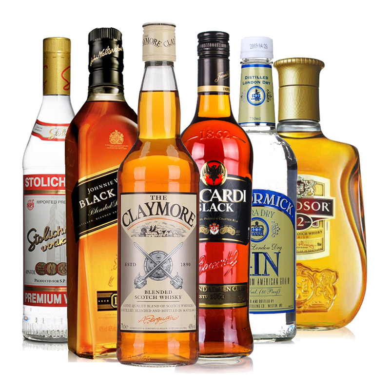 六大洋酒烈酒套装 威士忌 伏特加 朗姆酒 金酒 鸡尾酒基酒调酒6瓶
