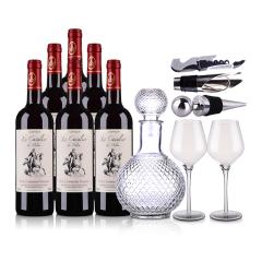 法国整箱红酒法国米洛骑士干红葡萄酒750ml(6瓶装) 米洛骑士酒具大礼包