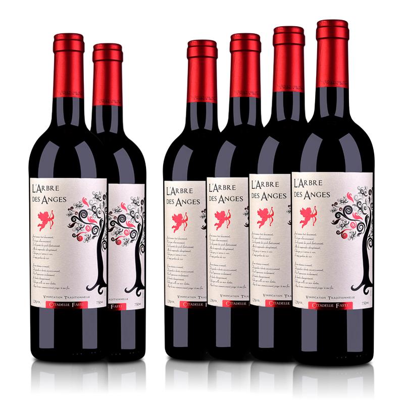 法国整箱红酒法国(原瓶进口)法圣古堡天使树干红葡萄酒750ml(6瓶装)
