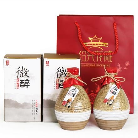 绍兴黄酒微醉十六年花雕酒盒装500ml*两盒装有袋