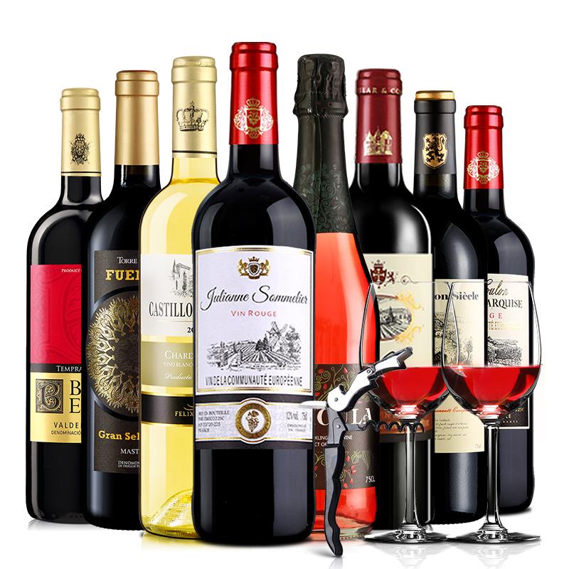 醉梦红酒 法国原瓶进口红酒八支组合葡萄酒大礼包8*750ml送红酒杯