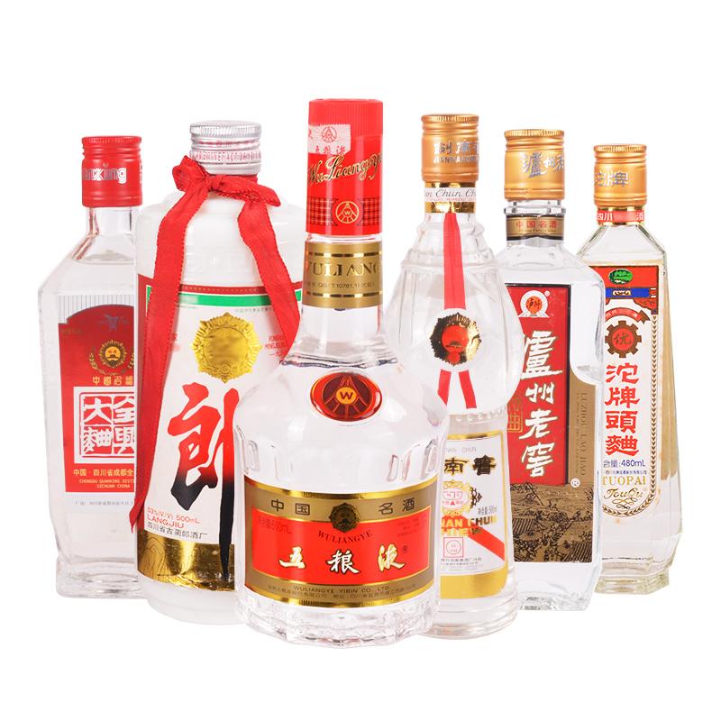 高度川酒六朵金花五粮液剑南春泸州老窖郎酒全兴沱牌500ml6瓶装(1997-2000年)