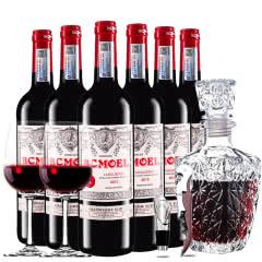 法国原瓶进口红酒柏翠莫埃尔AOC级品酒师干红葡萄酒红酒整箱欧式醒酒器装 750ml*6